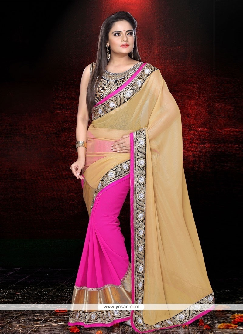 Excellent Cream And Pink Faux Chiffon Party Wear Saree