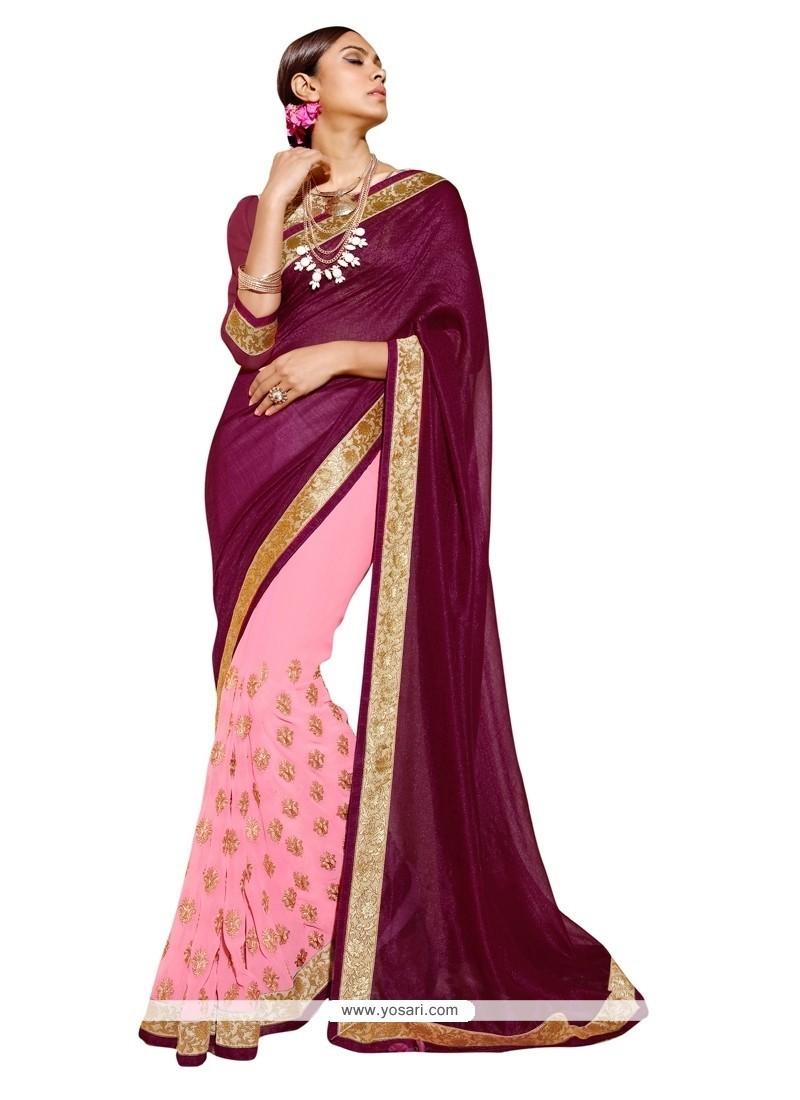Sorcerous Georgette Pink Designer Saree