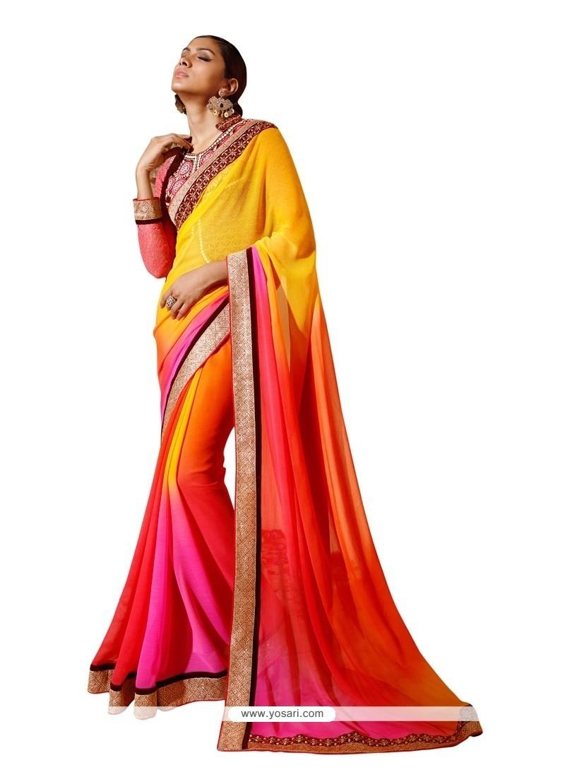 Girlish Georgette Multi Colour Designer Saree
