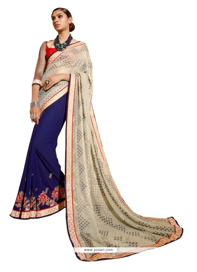 Blooming Navy Blue Designer Saree
