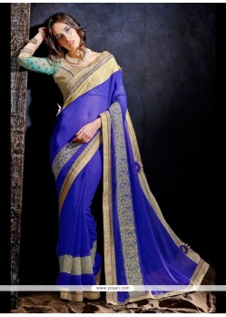 Dazzling Patch Border Work Blue Designer Saree