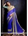 Dazzling Patch Border Work Blue Designer Saree