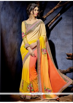 Hypnotic Patch Border Work Orange And Yellow Designer Saree
