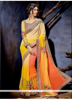 Hypnotic Patch Border Work Orange And Yellow Designer Saree