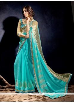 Princely Georgette Turquoise Designer Saree