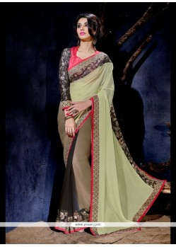 Irresistible Georgette Multi Colour Embroidered Work Designer Saree