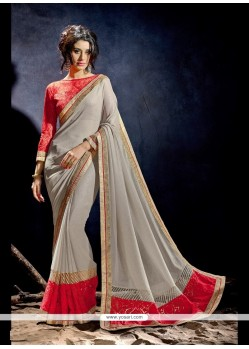 Sensible Embroidered Work Grey Designer Saree