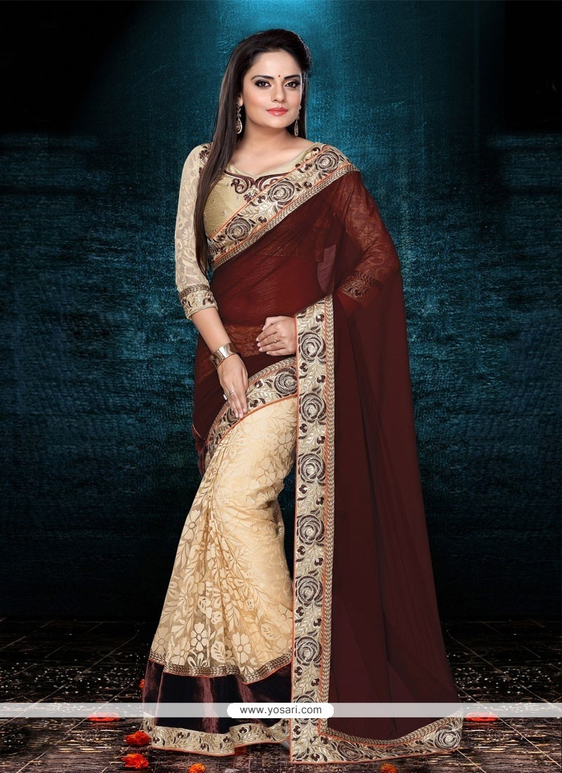 Desirable Cream And Brown Net Designer Saree