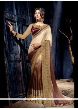 Ethnic Brown Patch Border Work Designer Saree