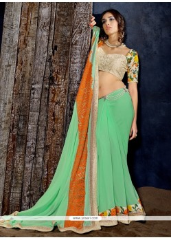 Majestic Embroidered Work Georgette Designer Saree