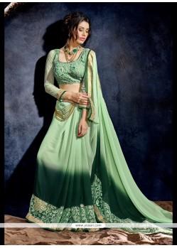 Glorious Embroidered Work Green Georgette Designer Saree