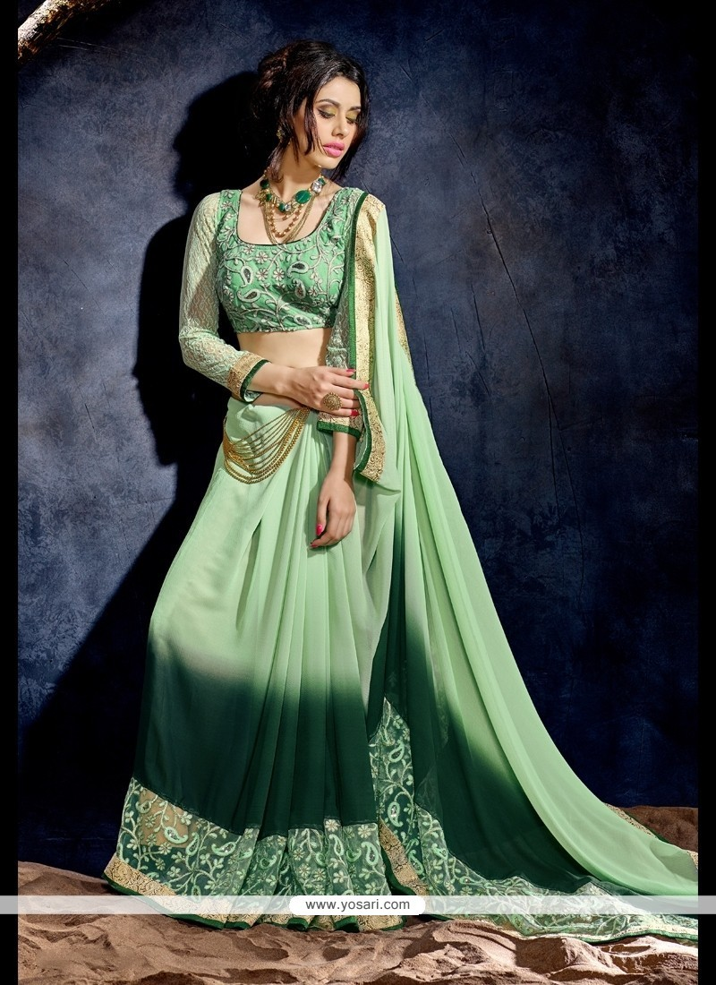 Glorious Embroidered Work Green Georgette Designer Saree