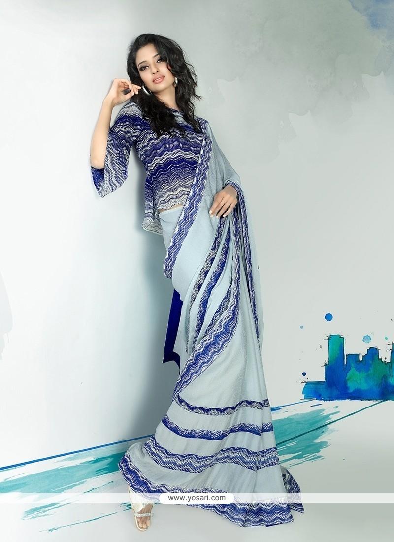 Whimsical Blue Georgette Designer Saree