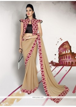 Lustrous Georgette Patch Border Work Designer Saree