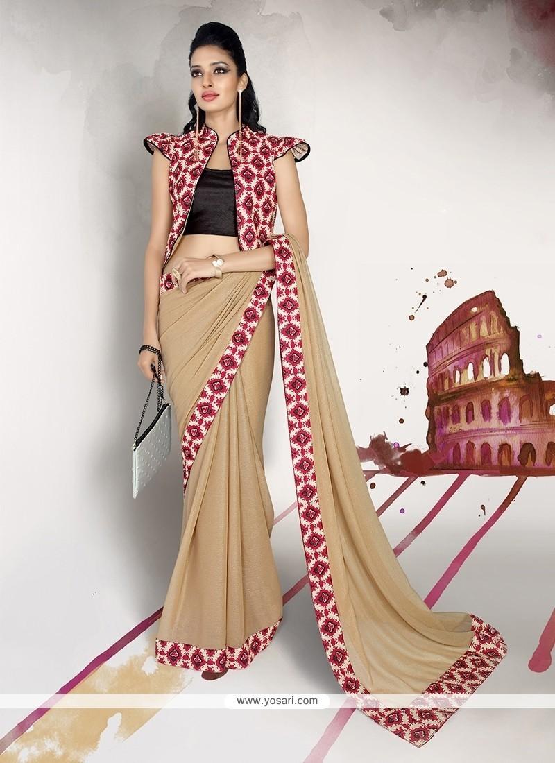 Lustrous Georgette Patch Border Work Designer Saree
