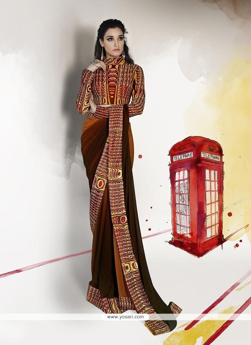 Luxurious Brown Designer Saree