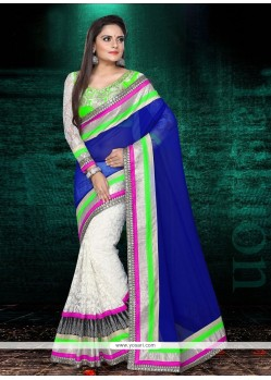 Off White And Blue Georgette Designer Saree
