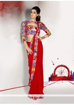 Impeccable Red Patch Border Work Georgette Designer Saree