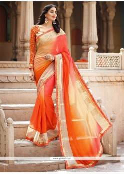 Awesome Embroidered Work Designer Saree