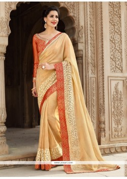 Brilliant Georgette Beige Embroidered Work Designer Saree