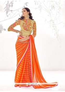 Amazing Georgette Embroidered Work Designer Saree