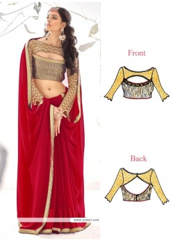Appealing Maroon Embroidered Work Georgette Designer Saree