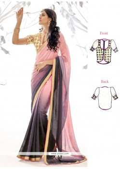 Noble Pink Patch Border Work Georgette Designer Saree
