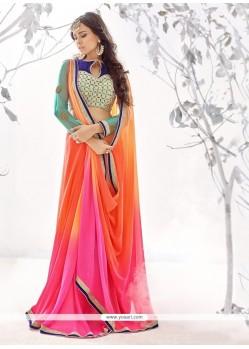 Jazzy Hot Pink And Orange Designer Saree