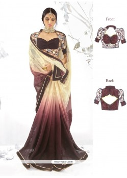 Modish Georgette Embroidered Work Designer Saree