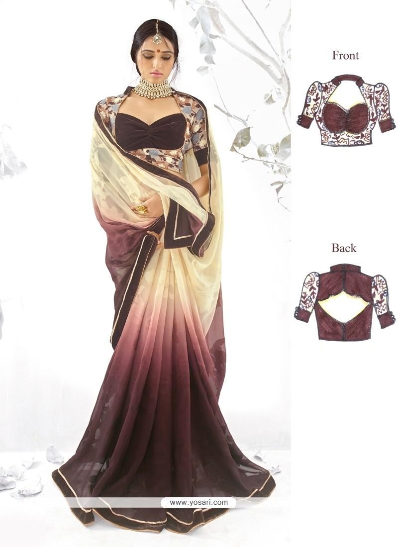 Modish Georgette Embroidered Work Designer Saree