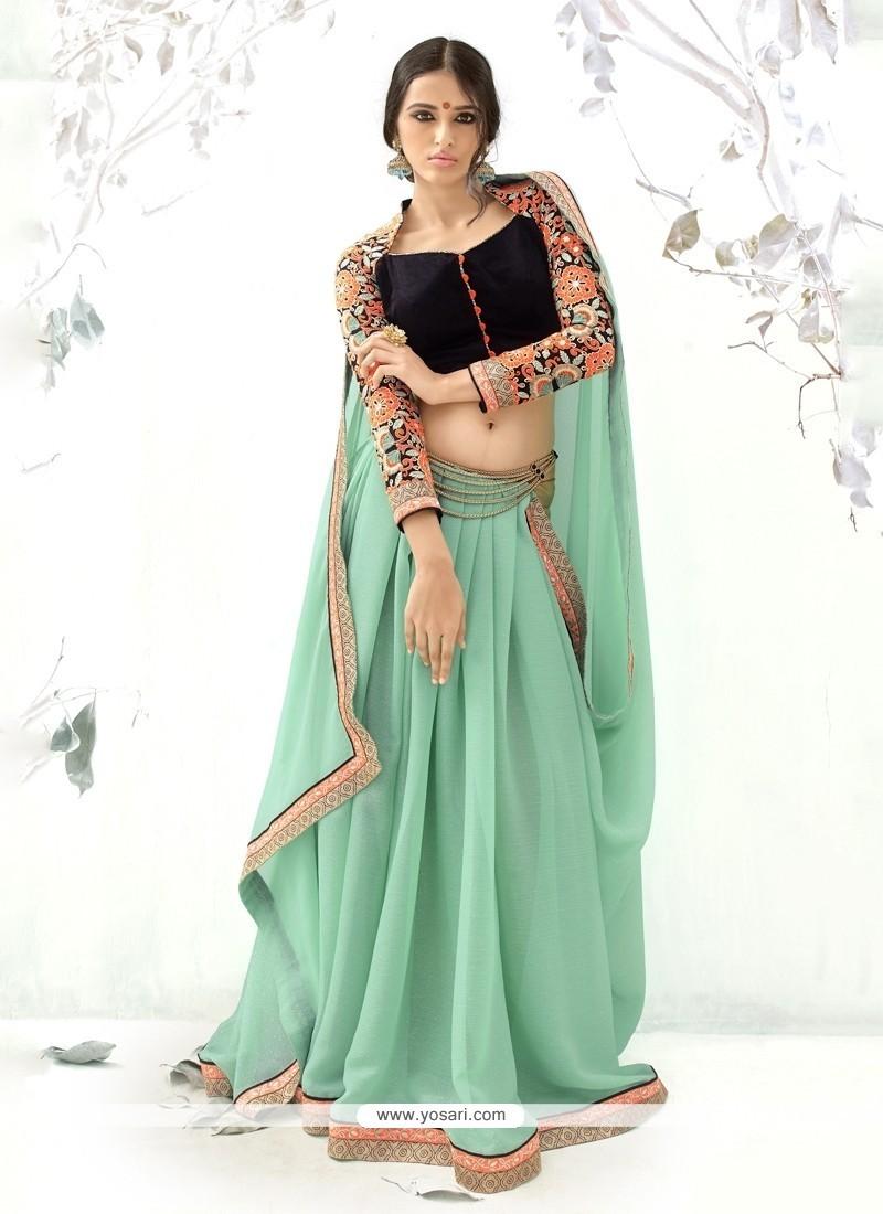 Intriguing Sea Green Embroidered Work Designer Saree