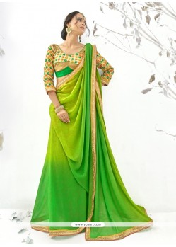 Desirable Shimmer Georgette Patch Border Work Designer Saree