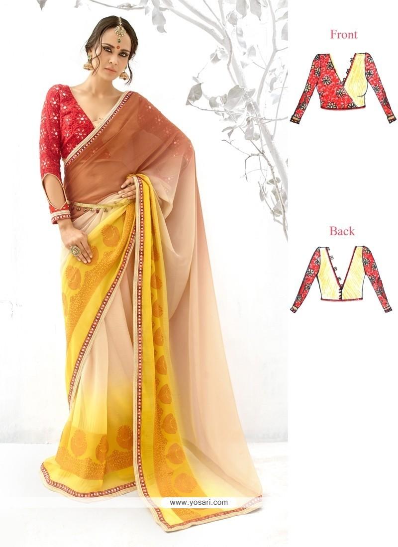 Multi Colour Patch Border Work Georgette Designer Saree