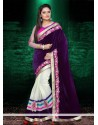 Off White And Purple Velvet Designer Saree
