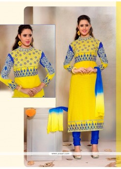 Exotic Patch Border Work Yellow Cotton Churidar Designer Suit