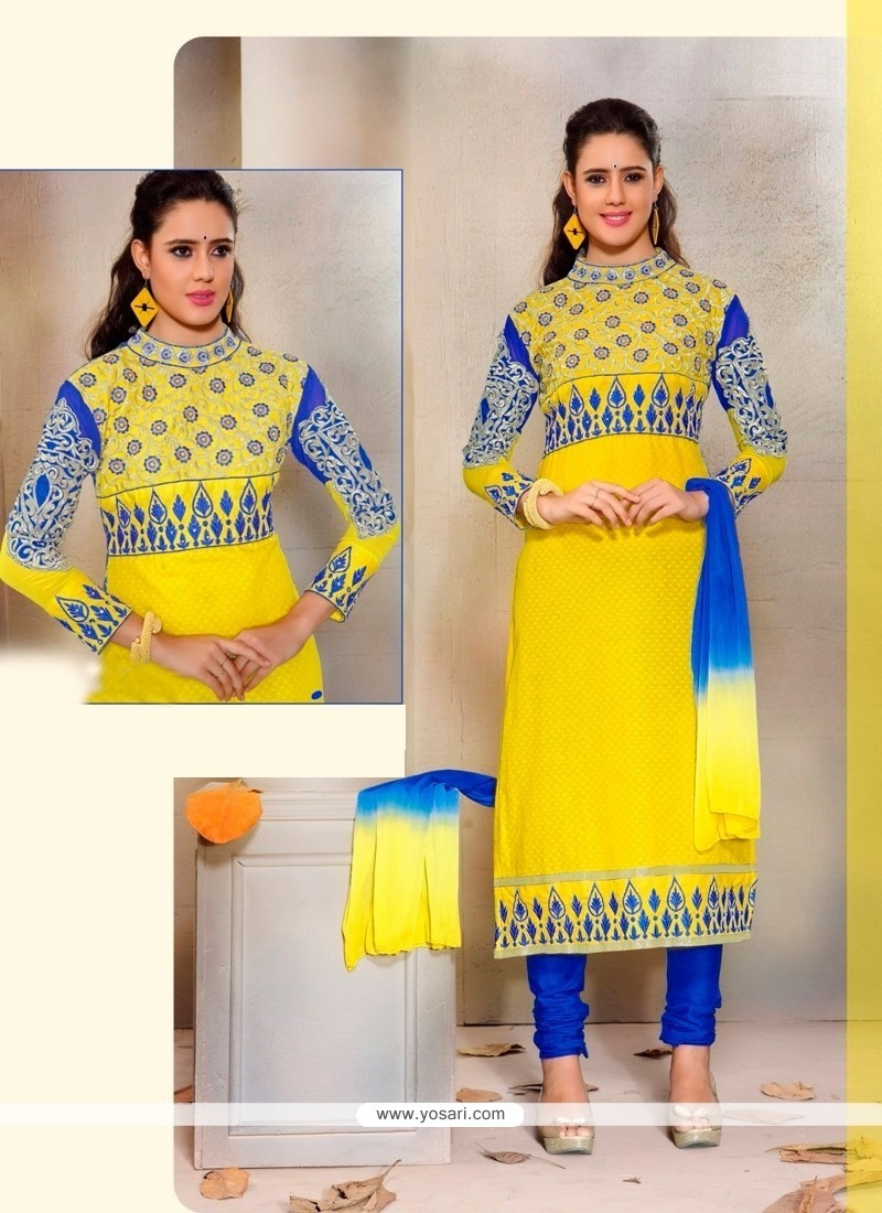 Exotic Patch Border Work Yellow Cotton Churidar Designer Suit