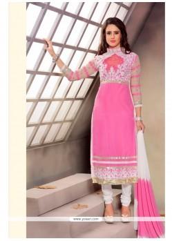 Fetching Pink Patch Border Work Churidar Designer Suit