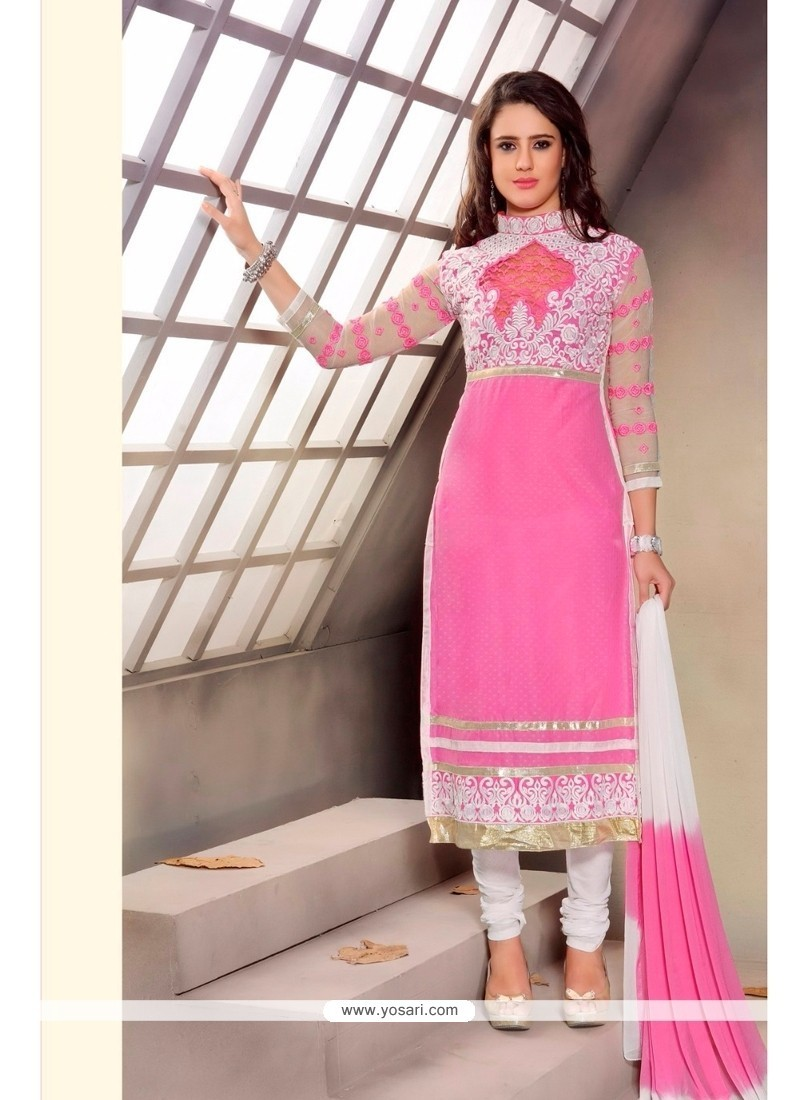 Fetching Pink Patch Border Work Churidar Designer Suit