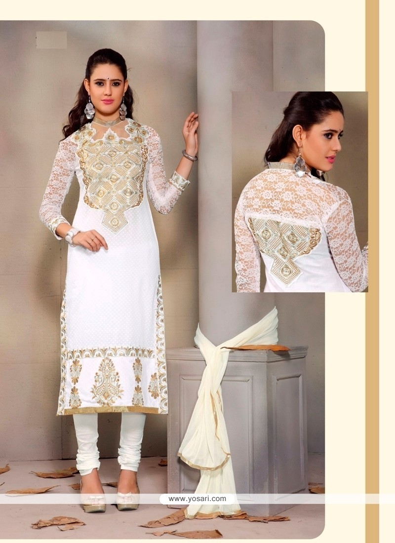 Sensible Patch Border Work Cotton Churidar Designer Suit