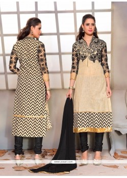 Trendy Net Beige And Black Churidar Designer Suit