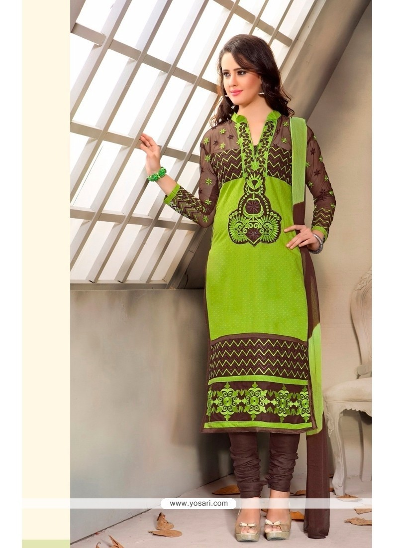 Blissful Patch Border Work Cotton Churidar Designer Suit
