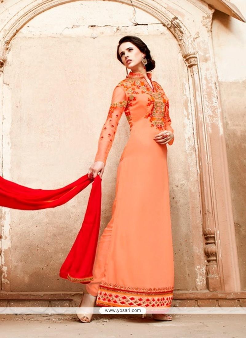 Dazzling Peach Designer Suit