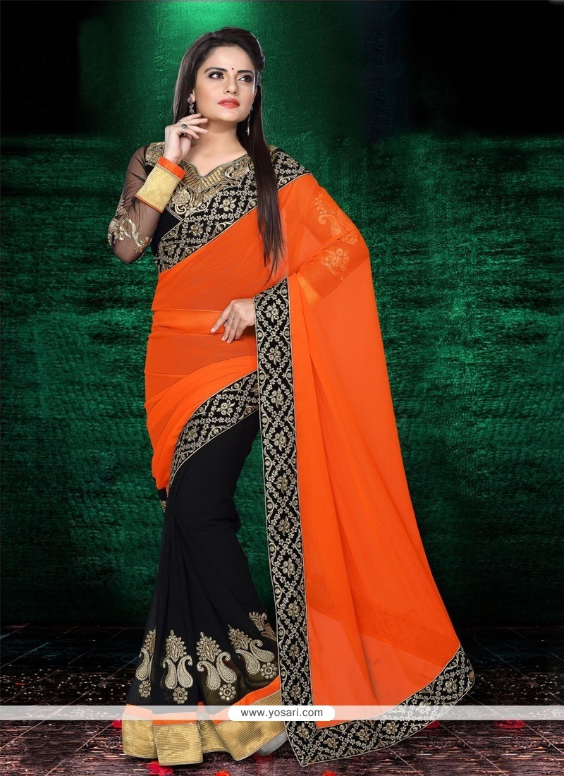Breathtaking Orange And Black Chiffon Designer Saree