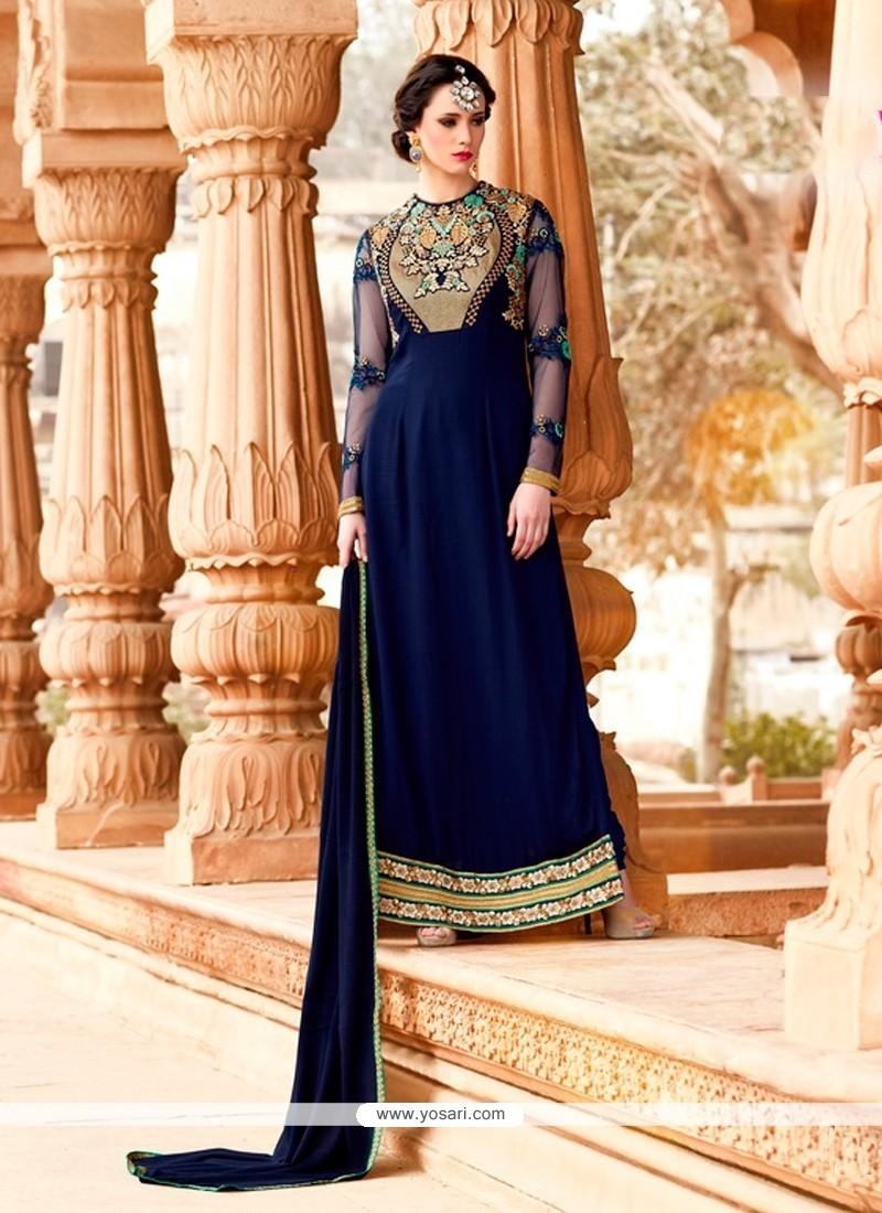 Delightful Georgette Navy Blue Designer Suit