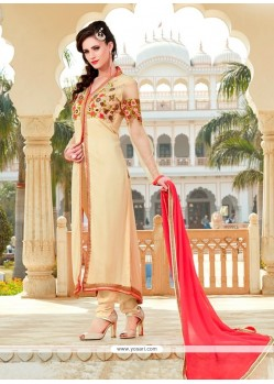 Marvelous Patch Border Work Cream Georgette Designer Suit