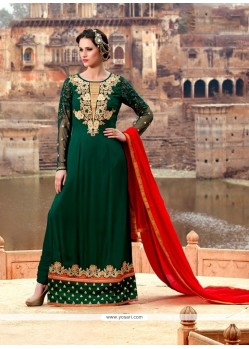 Praiseworthy Georgette Green Designer Suit