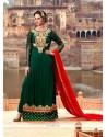 Praiseworthy Georgette Green Designer Suit