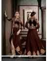 Renowned Silk Brown Patch Border Work Designer Suit