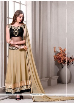 Baronial Embroidered Work Beige Designer Suit