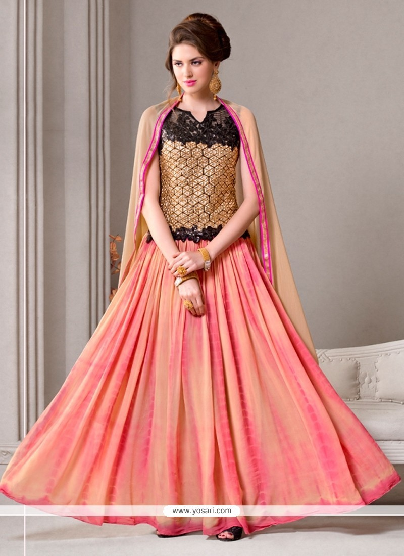 Titillating Peach And Pink Embroidered Work Georgette Designer Suit